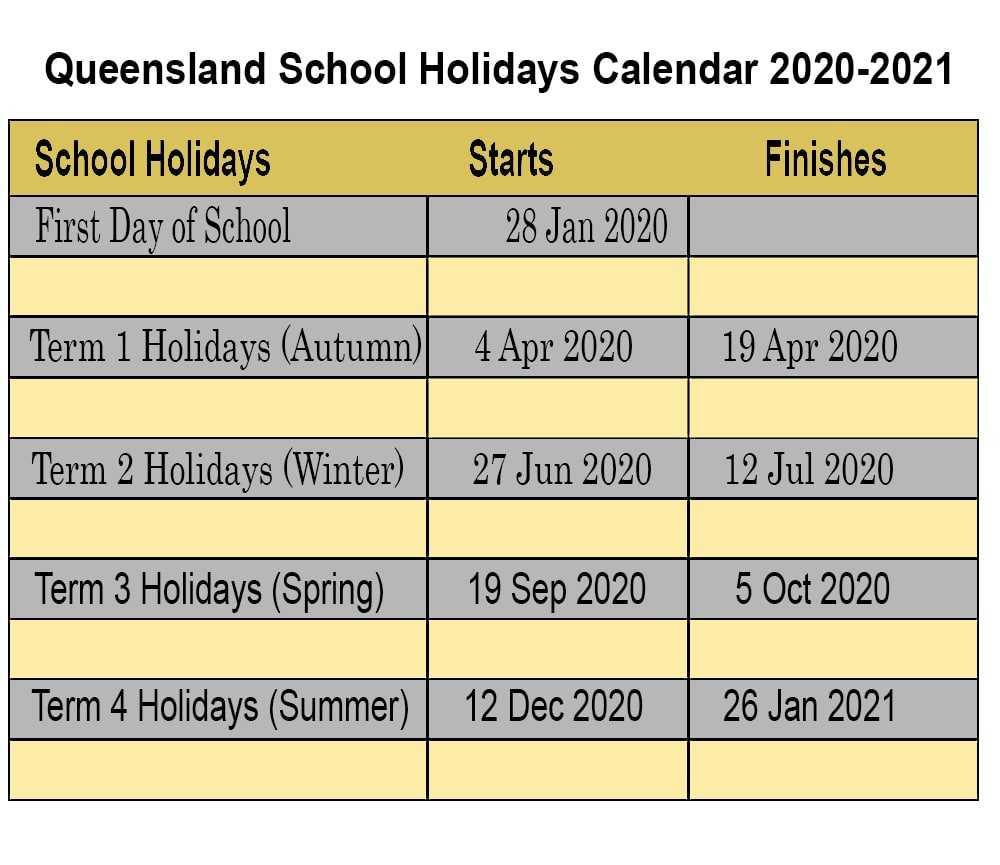 Qld 2021 School Holidays 2021