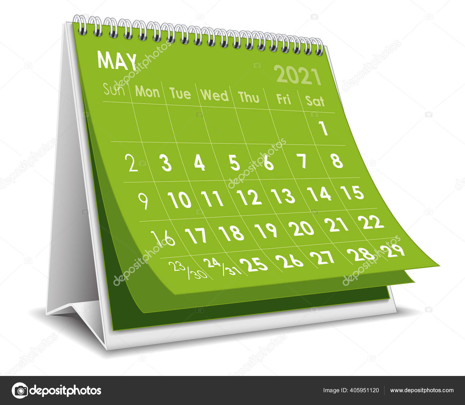 Vector Desktop 3D Calendar May 2021 Isolated In White Background 405951120