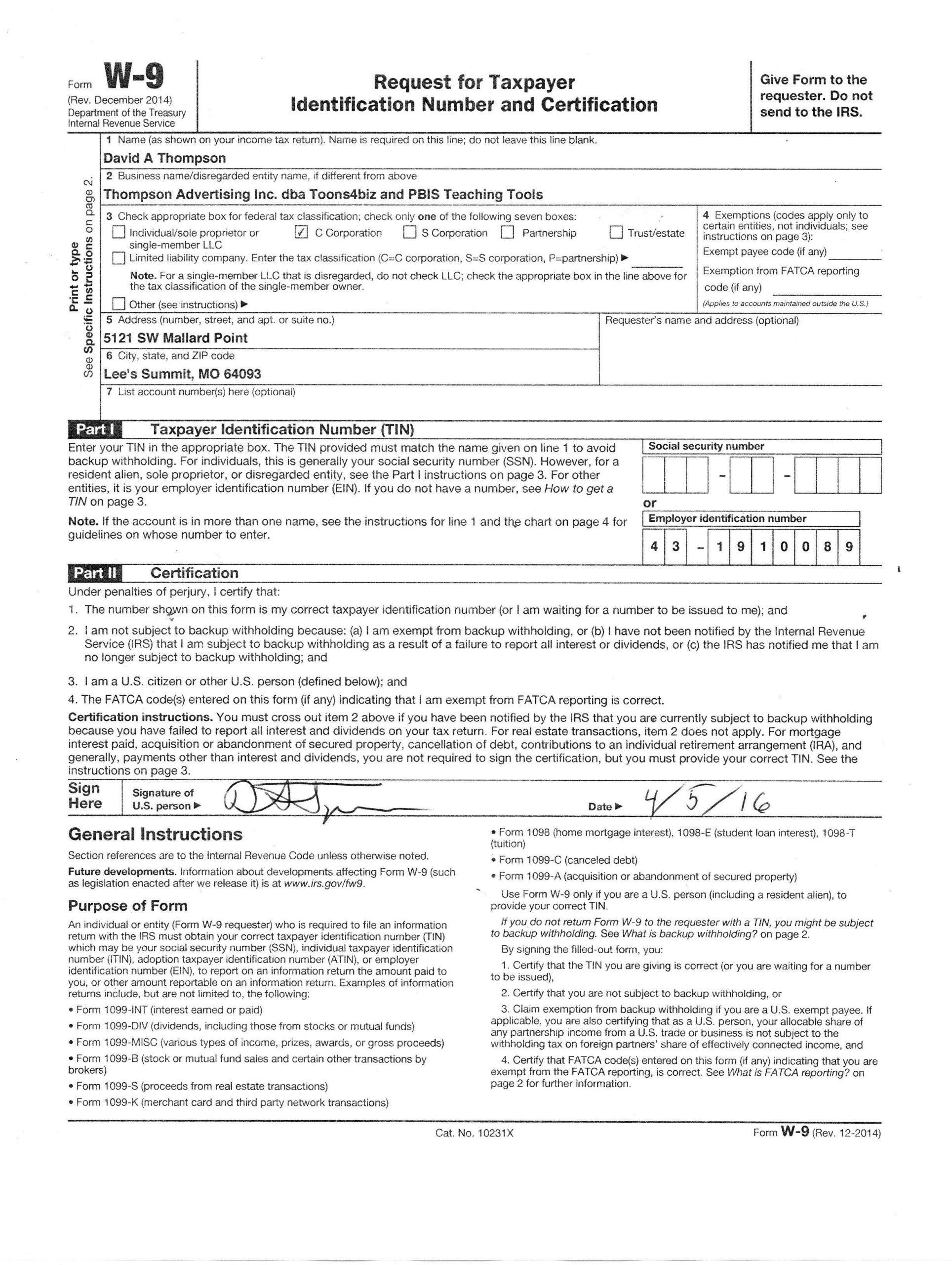 W9 Form 2021 Printable Form