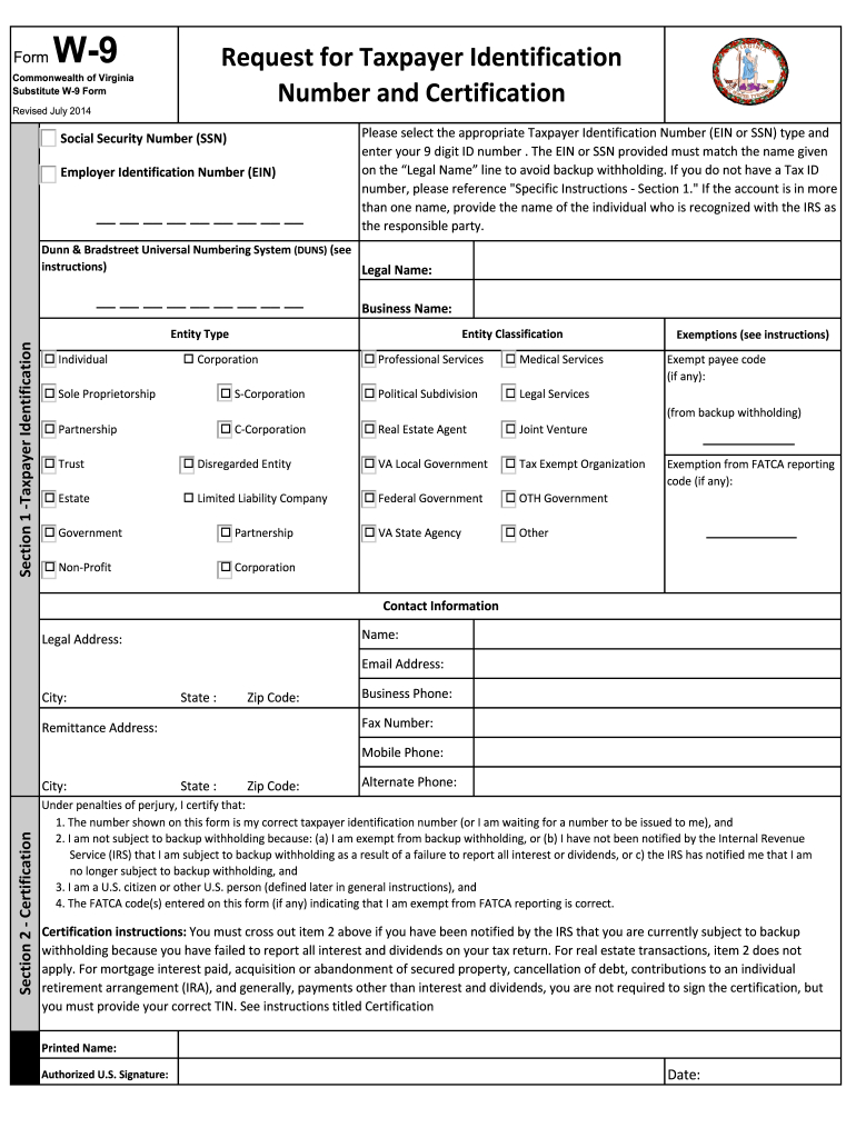 W9 Virginia - Fill Out And Sign Printable Pdf Template