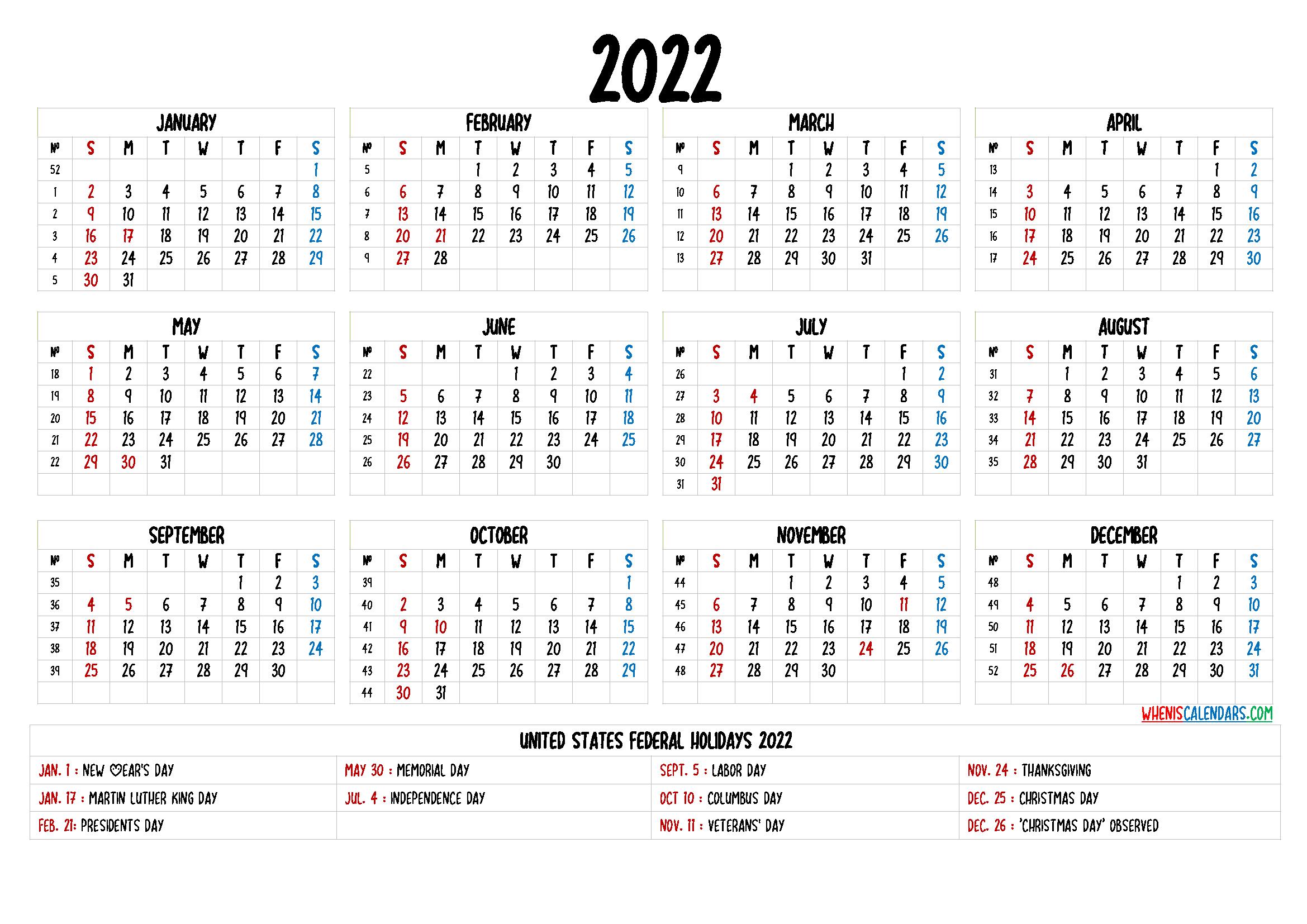 20+ 2022 Calendar - Free Download Printable Calendar