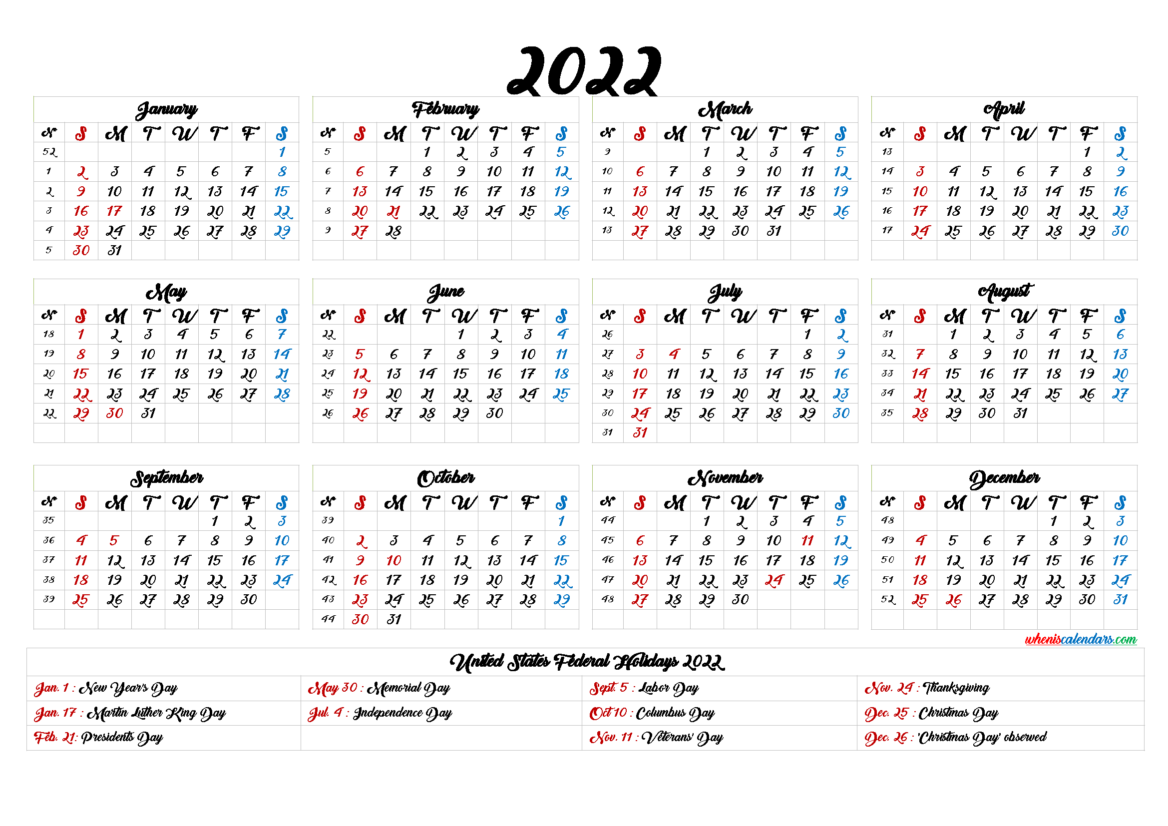 20+ 2022 Calendar With Holidays Printable - Free Download