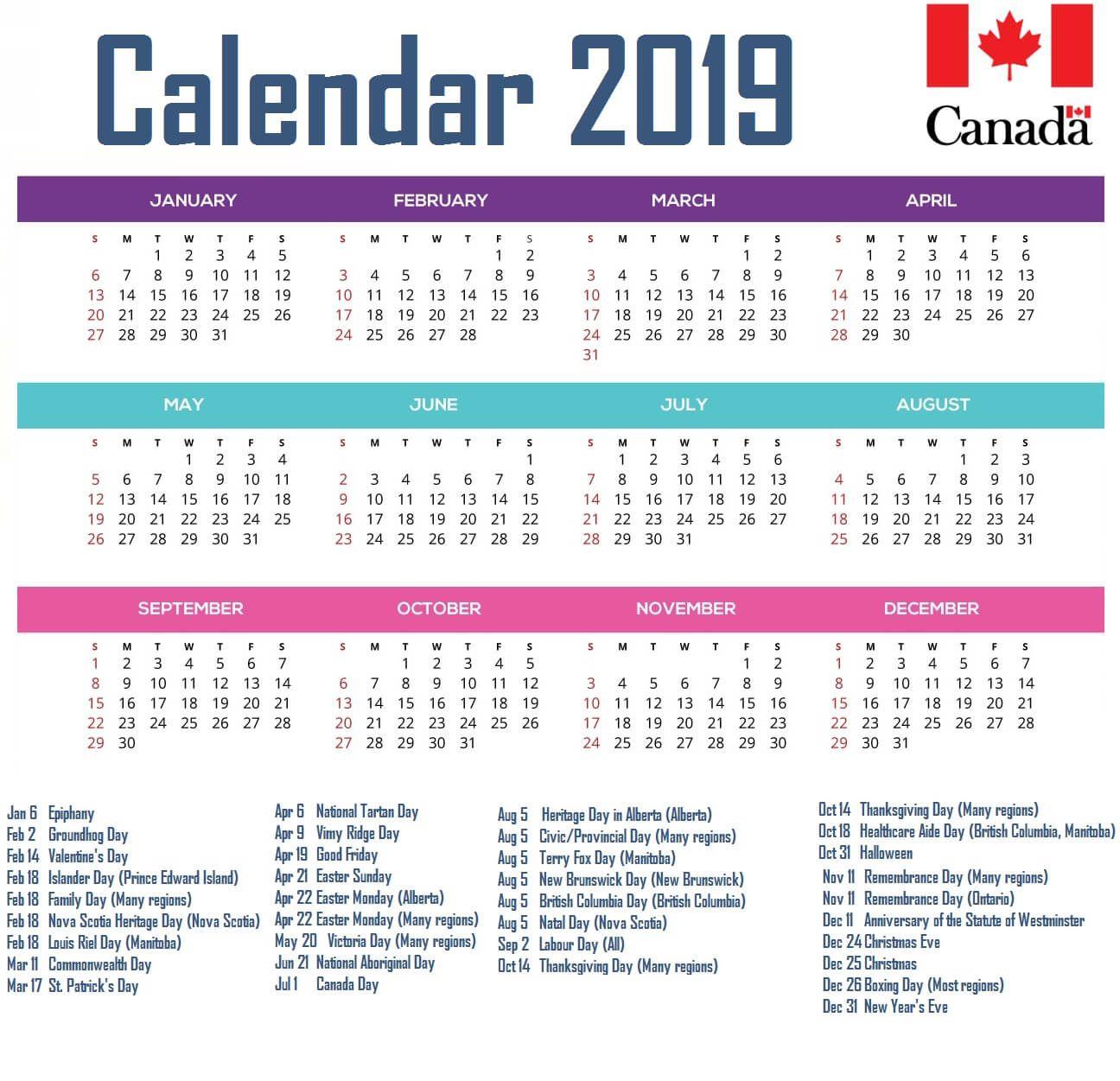 20+ Canadian Calendar 2021 - Free Download Printable Calendar Templates ️