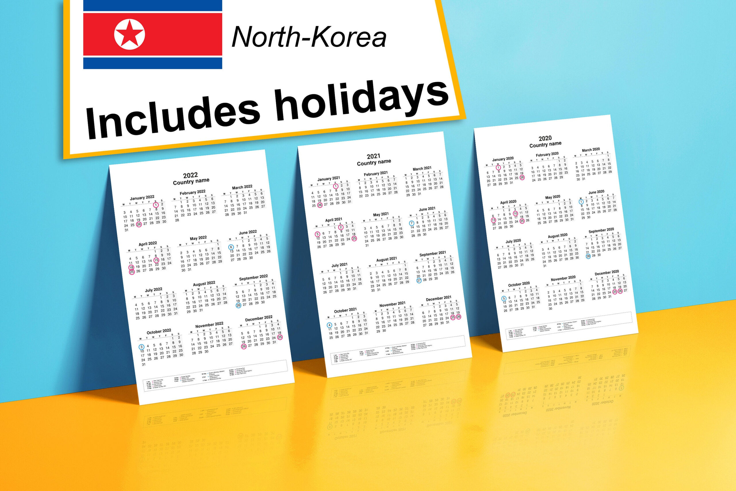 2020-2022 Yearly Calendar With Holidays For North-Korea