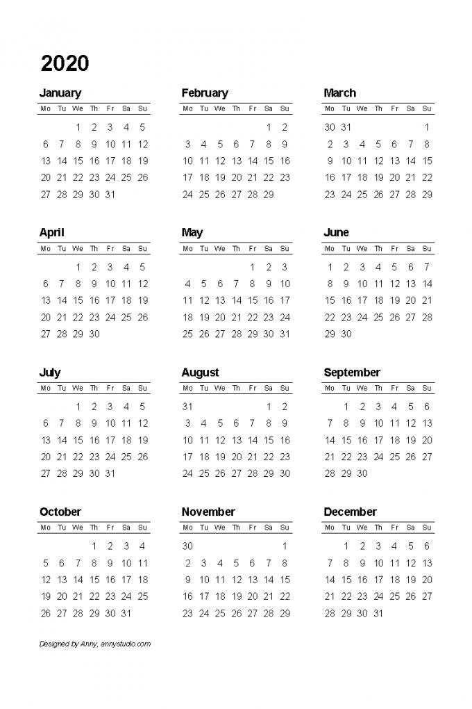 2020 And 2021 Calendar Printable Australia