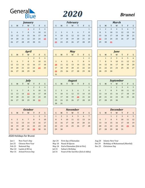 2020 Brunei Calendar With Holidays