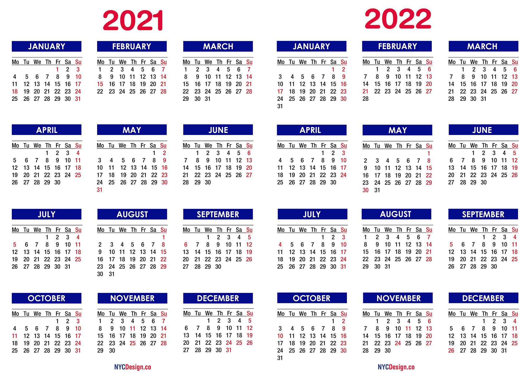 2021 - 2022 Two Year Calendar With Holidays, Printable Free, Blue - Nycdesign.co