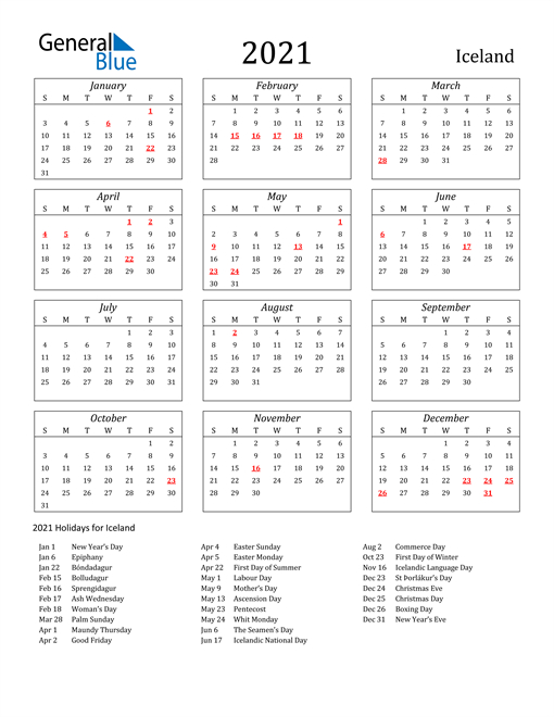 2021 Calendar - Iceland With Holidays