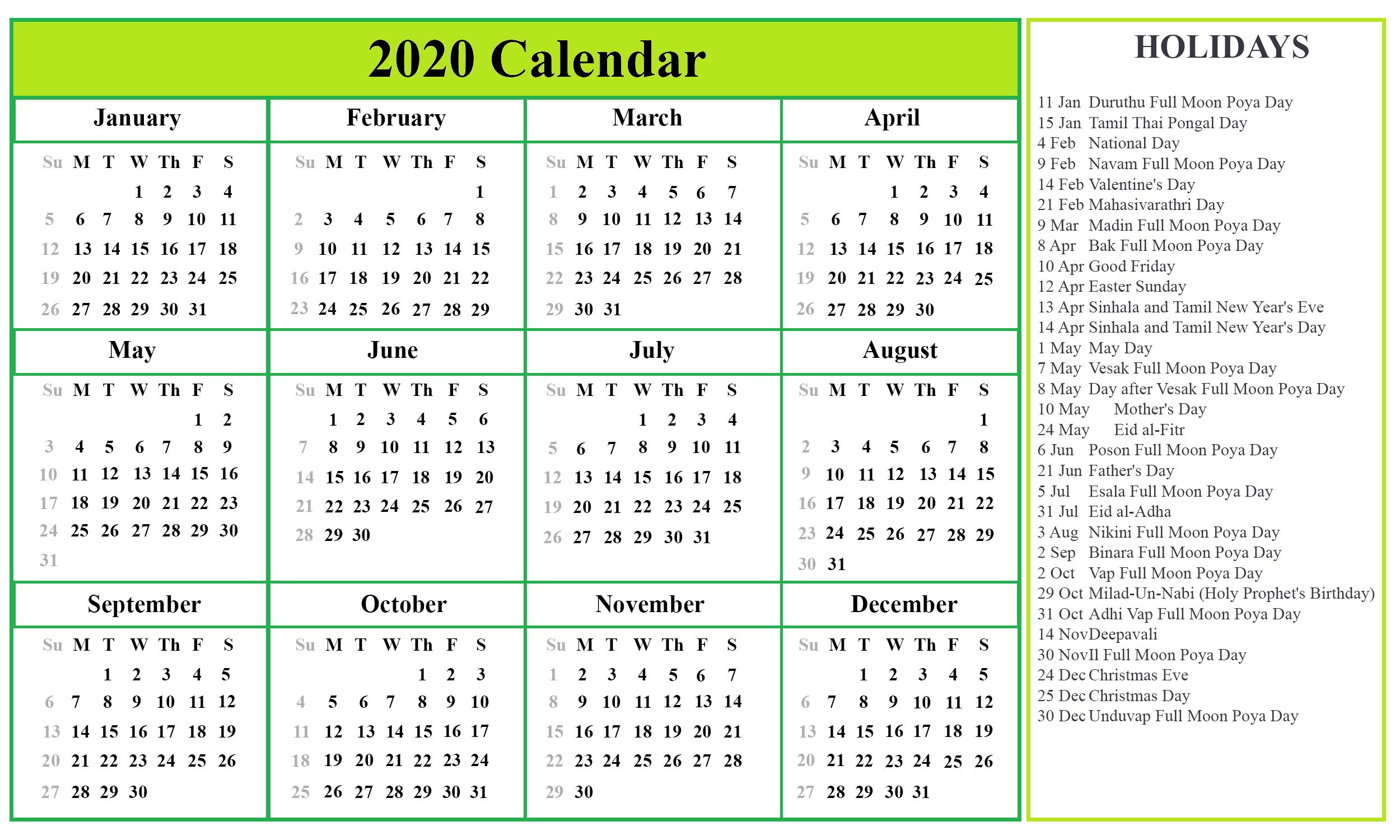 2021 Calendar Sri Lanka - Nexta