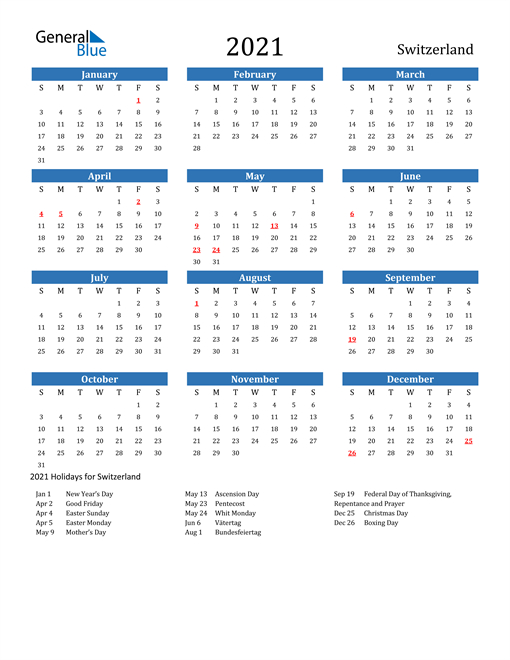 2021 Calendar - Switzerland With Holidays