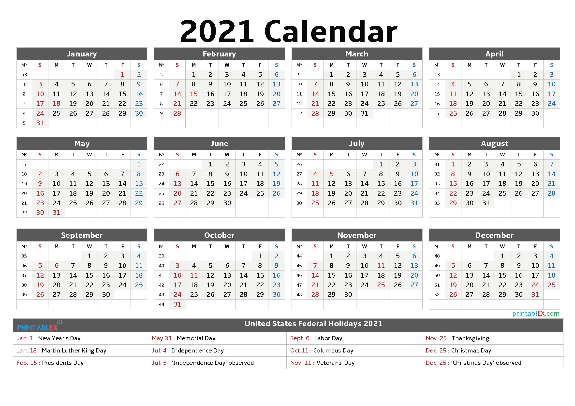 2021 Holidays List Printable
