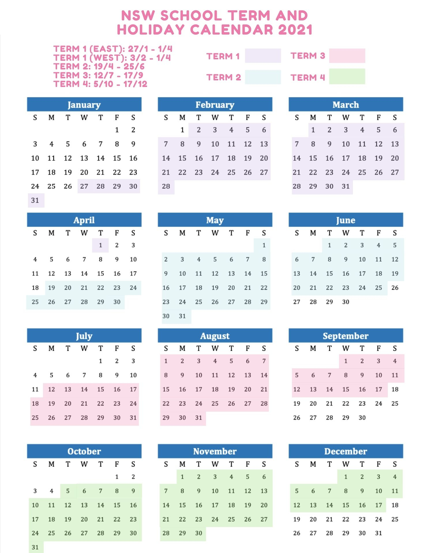 2021 School Holidays And Term Dates Australia