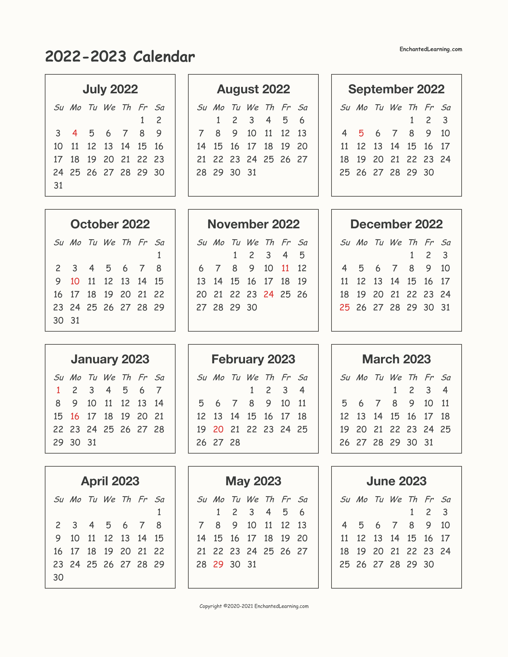 2022-2023 School-Year One-Page Calendar - Enchanted Learning