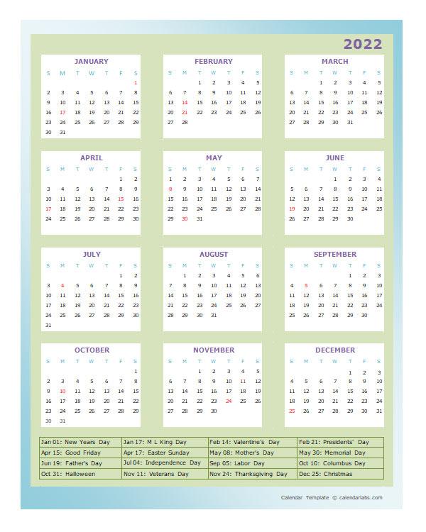 2022 Annual Calendar Design Template - Free Printable