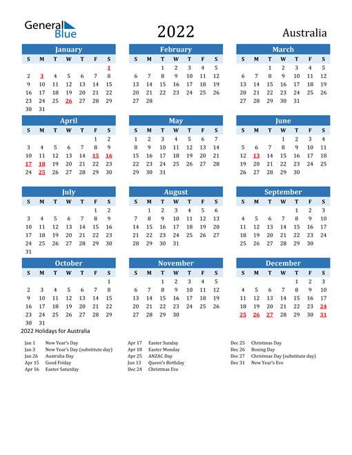 2022 Australia Calendar With Holidays