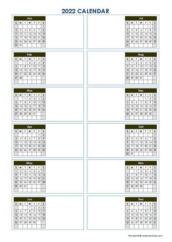 2022 Blank Yearly Calendar Template Vertical Design - Free