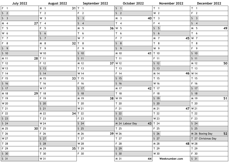 2022 Calendar, 2Nd Half