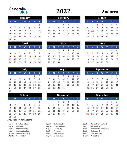 2022 Calendar - Andorra With Holidays