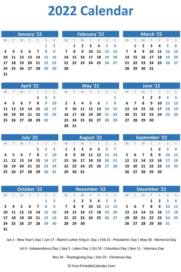 2022 Calendar Australia Pdf