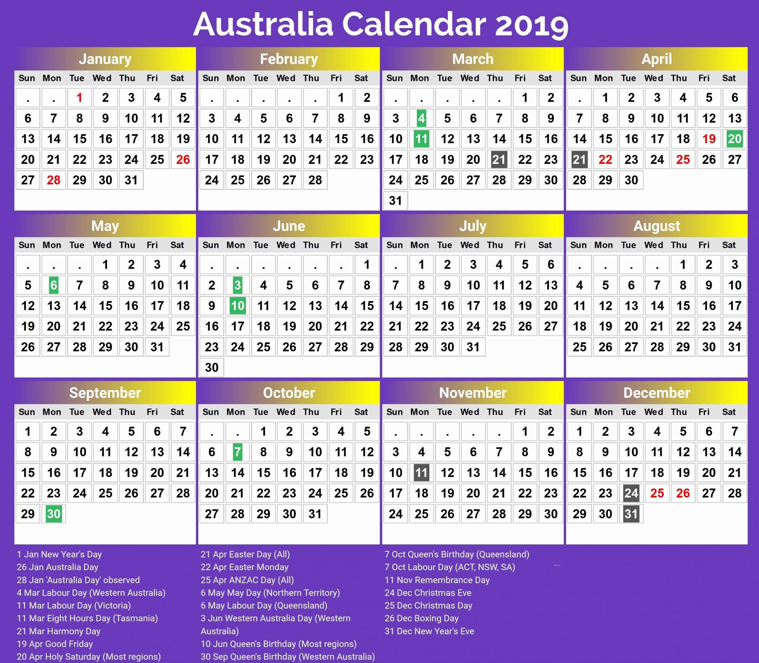 2022 Calendar Australia With Holidays