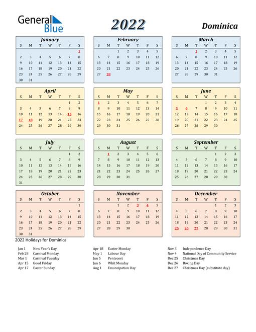 2022 Calendar - Dominica With Holidays