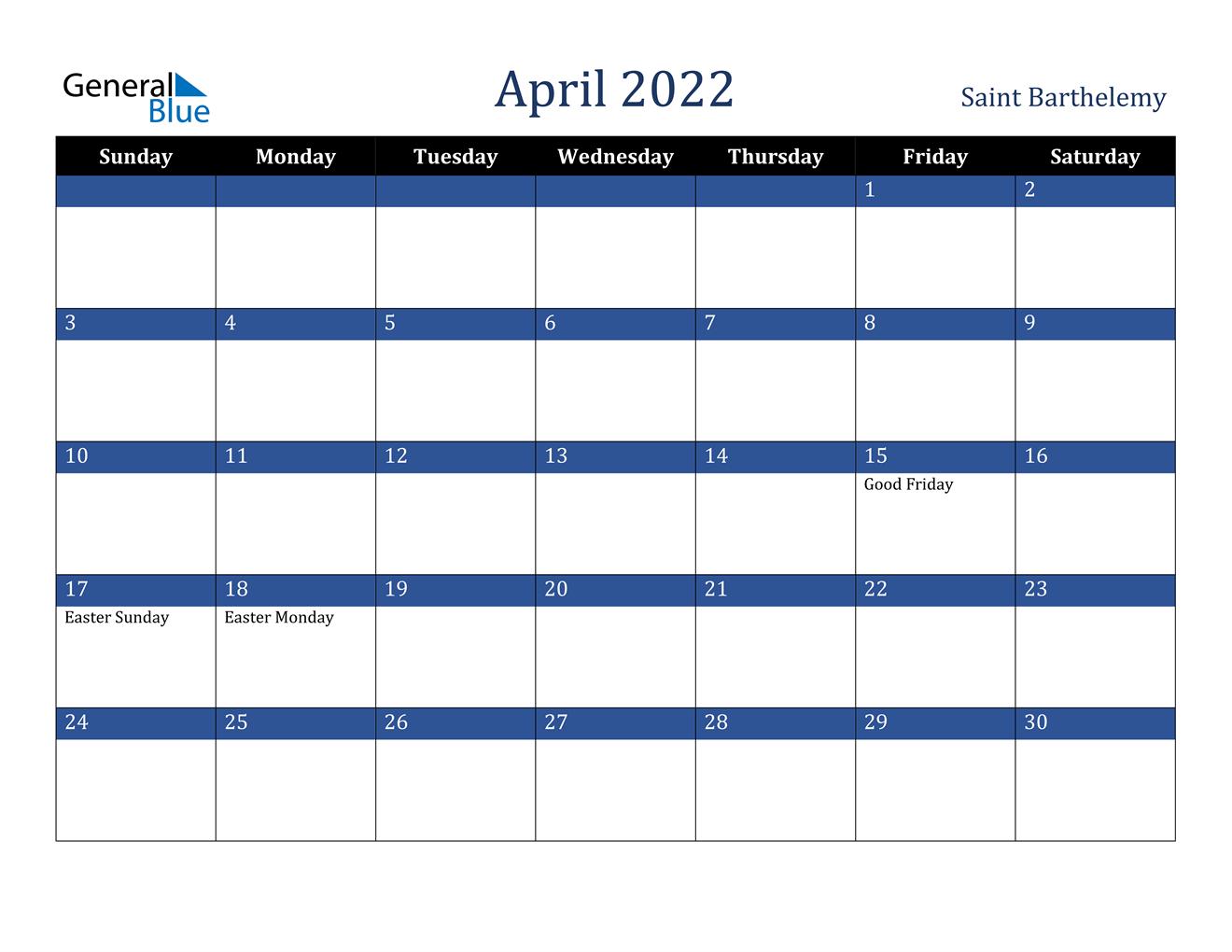 2022 Calendar Easter Day