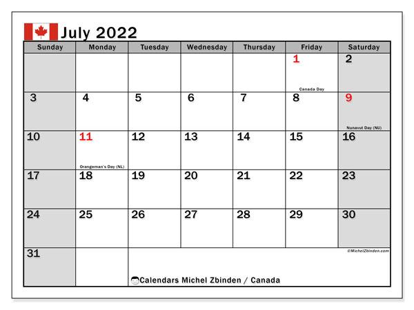 2022 Calendar For Canada