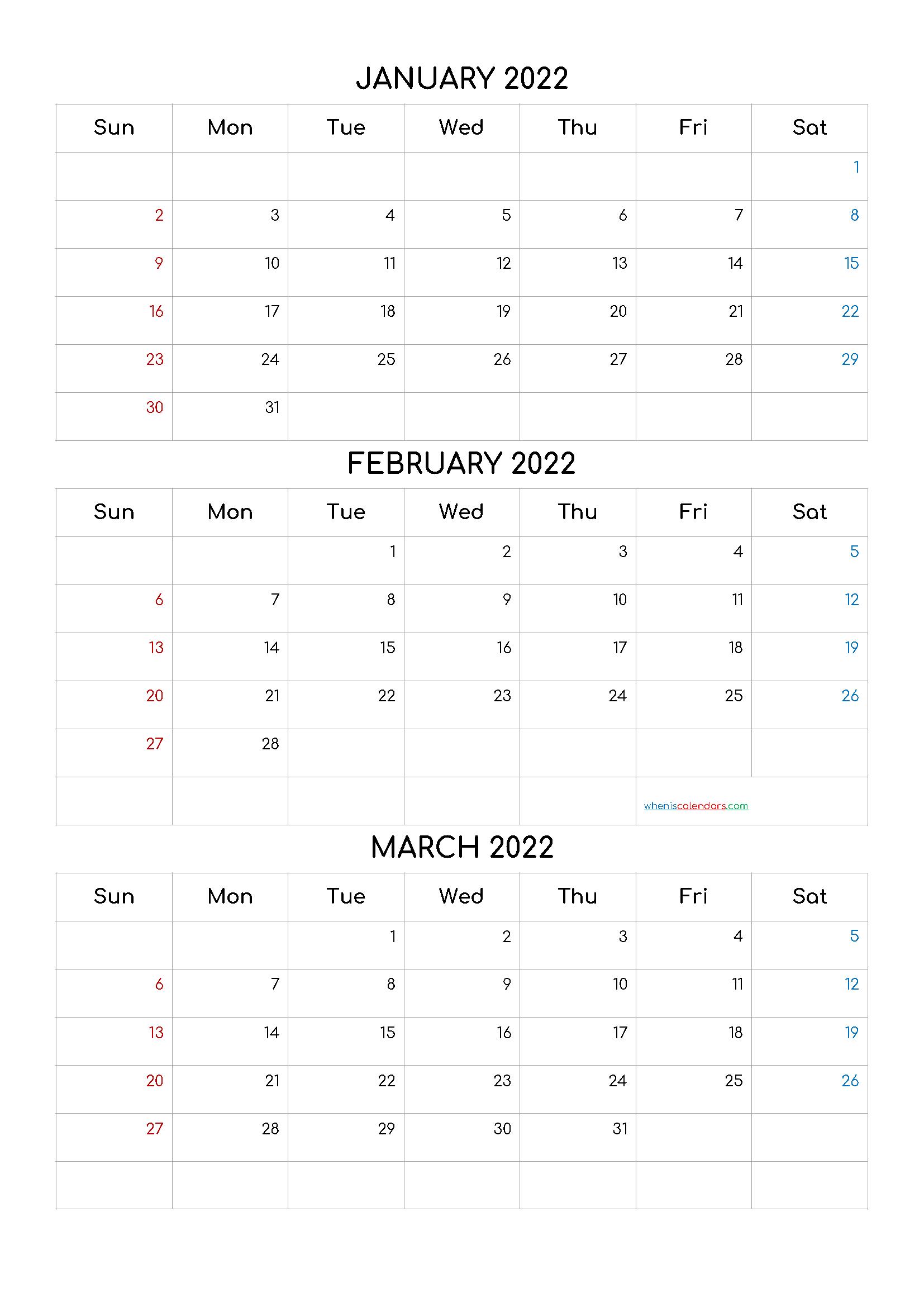2022 Calendar January Month