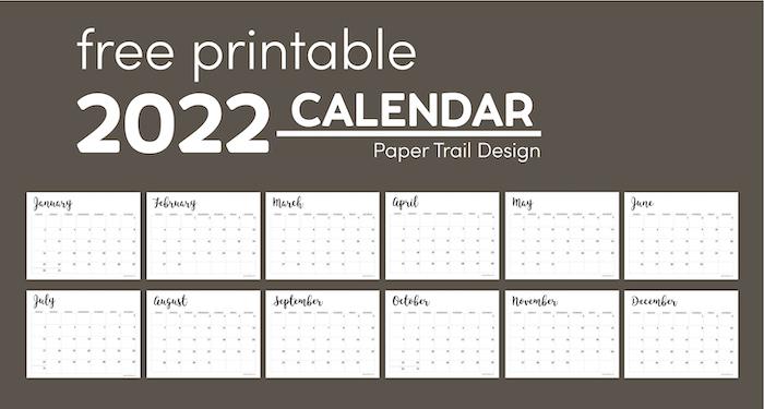 2022 Calendar Printable Free Template