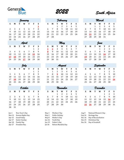 2022 Calendar - South Africa With Holidays