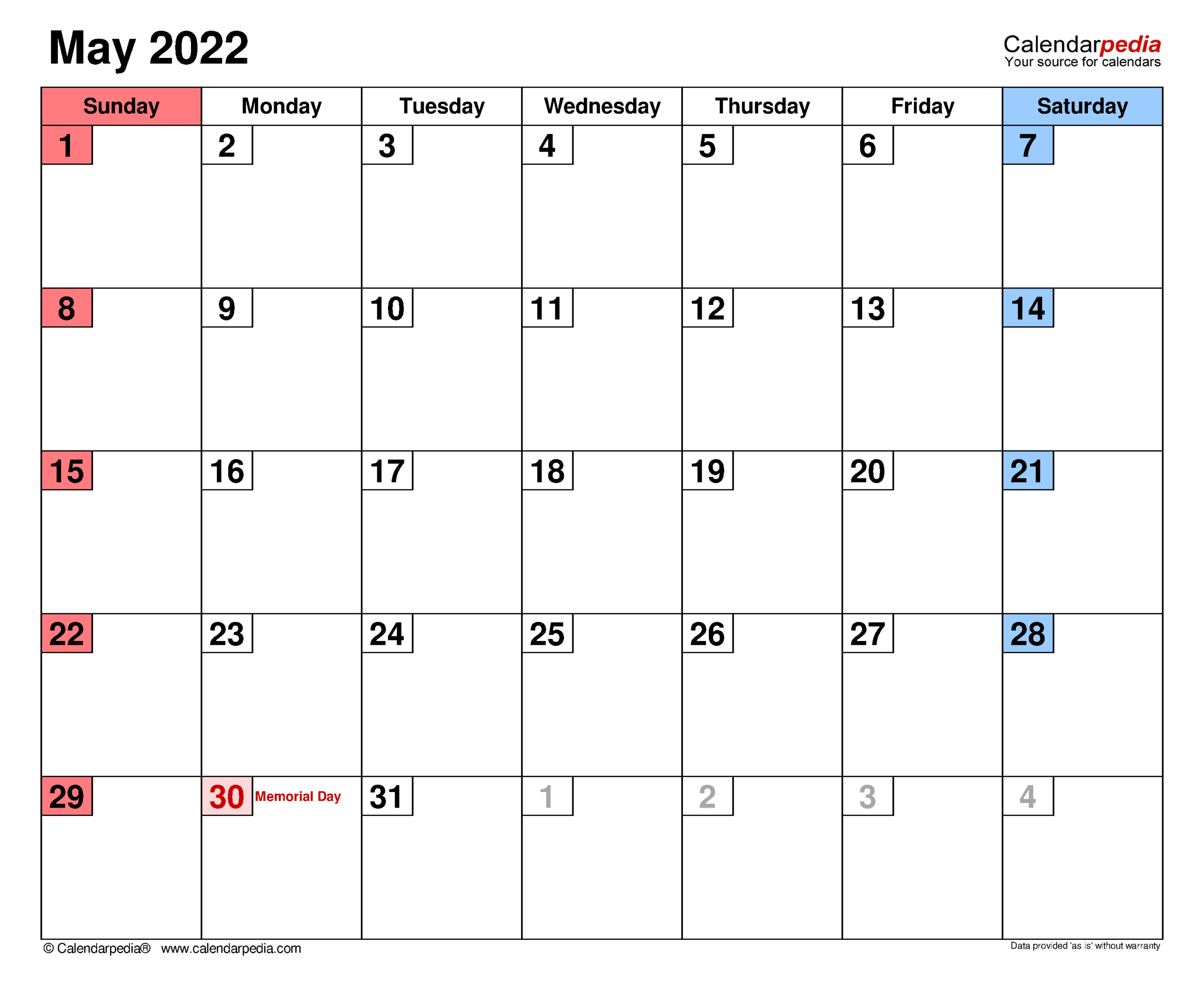 2022 Calendar Template Excel