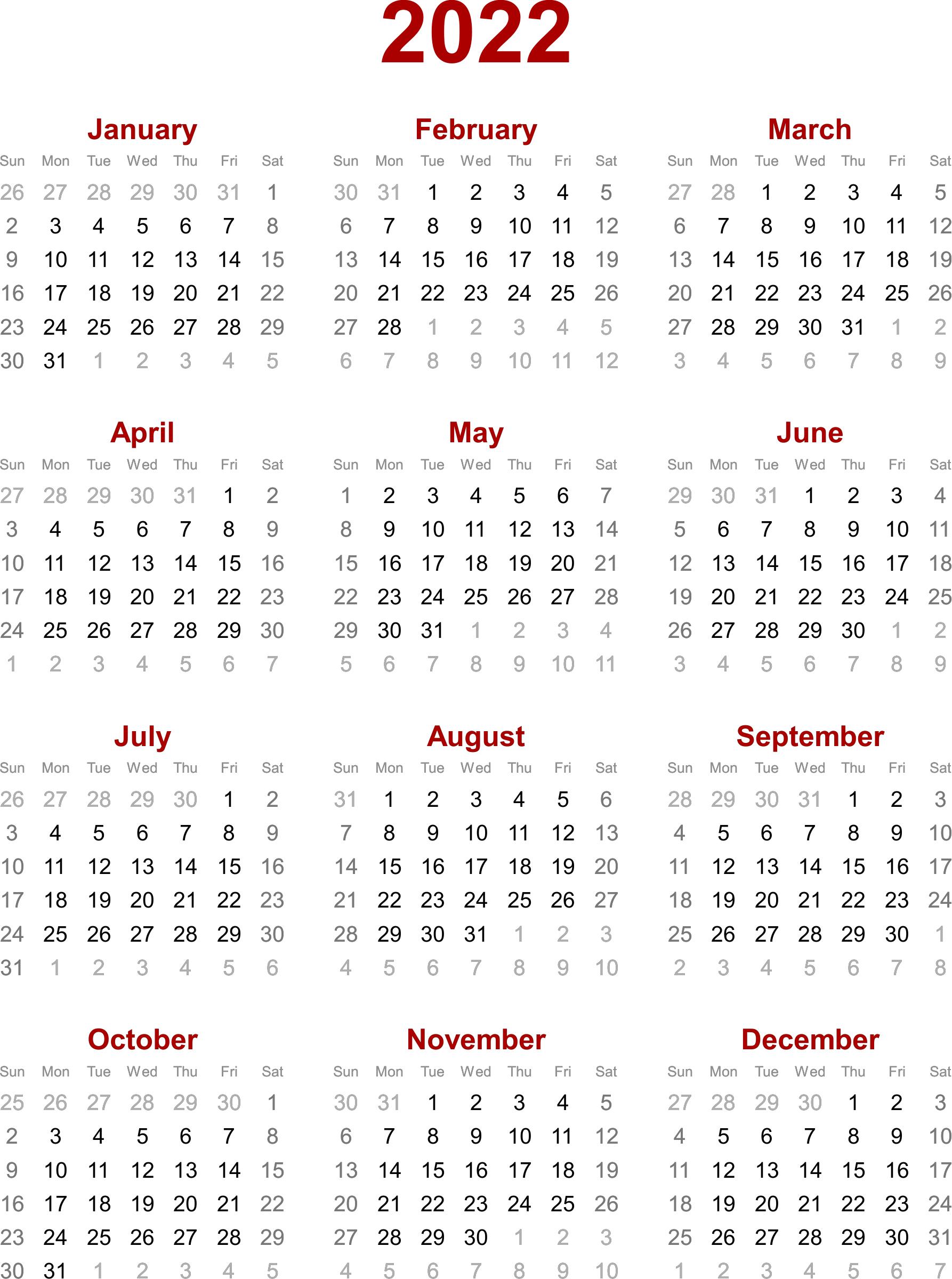 2022 Calendar Template For Excel