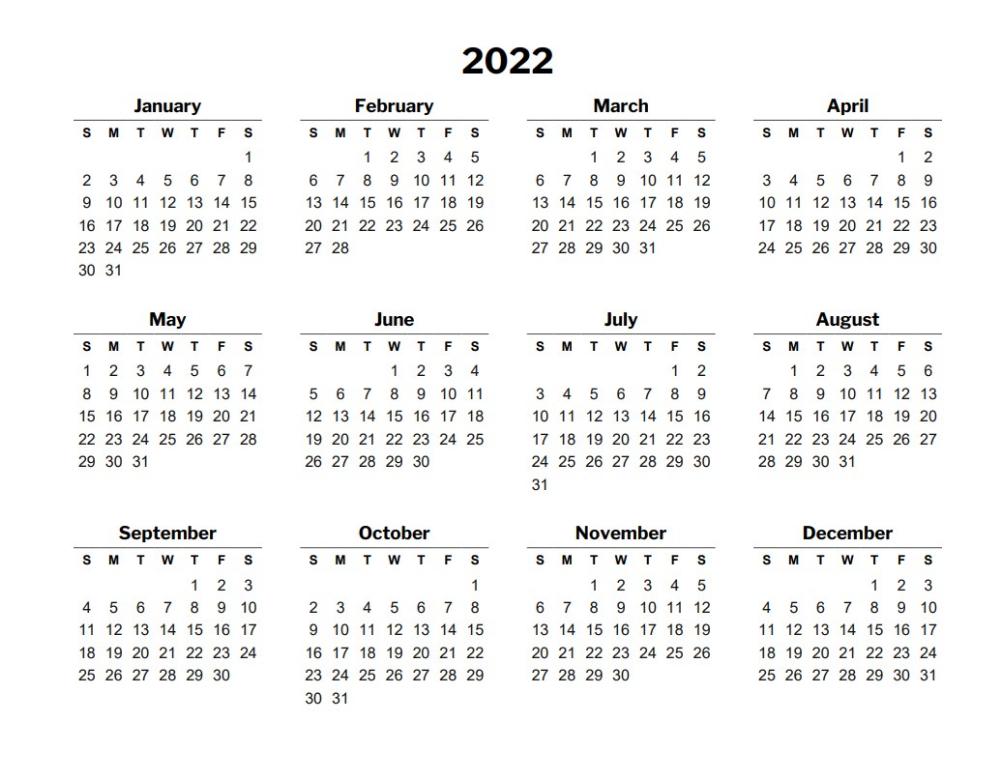 2022 Calendar Template In 2020