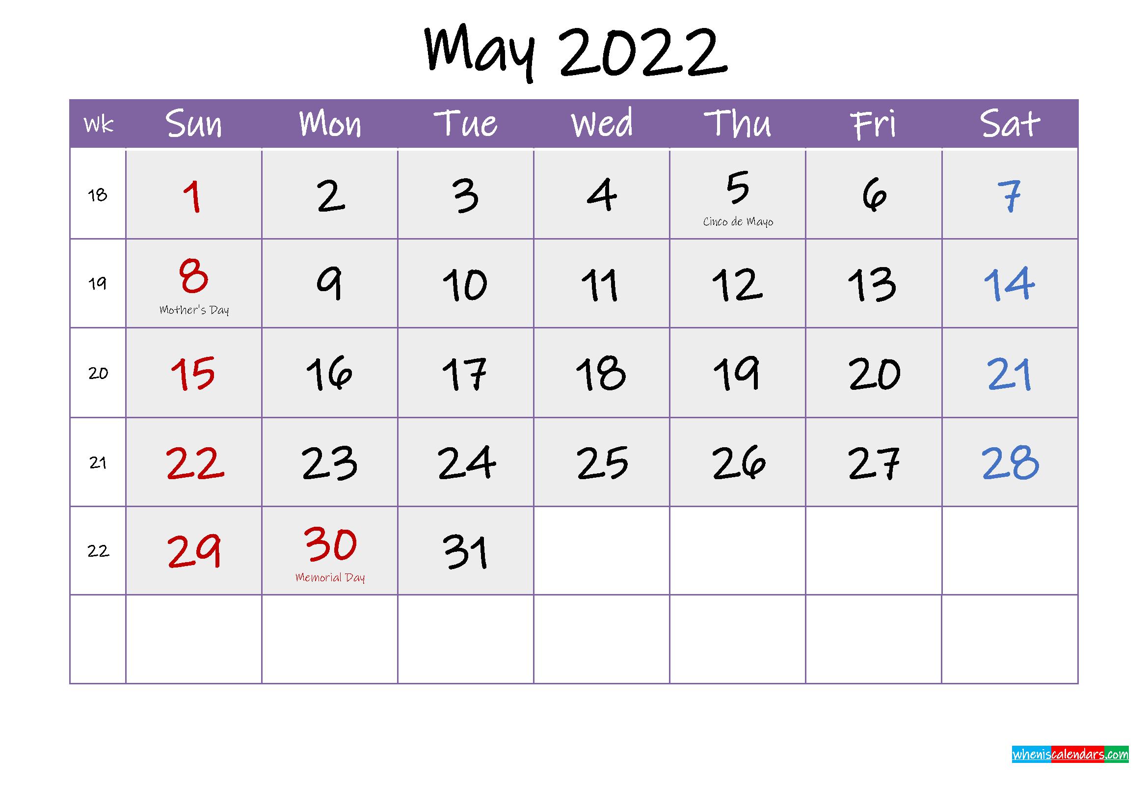 2022 Calendar Template With Holidays