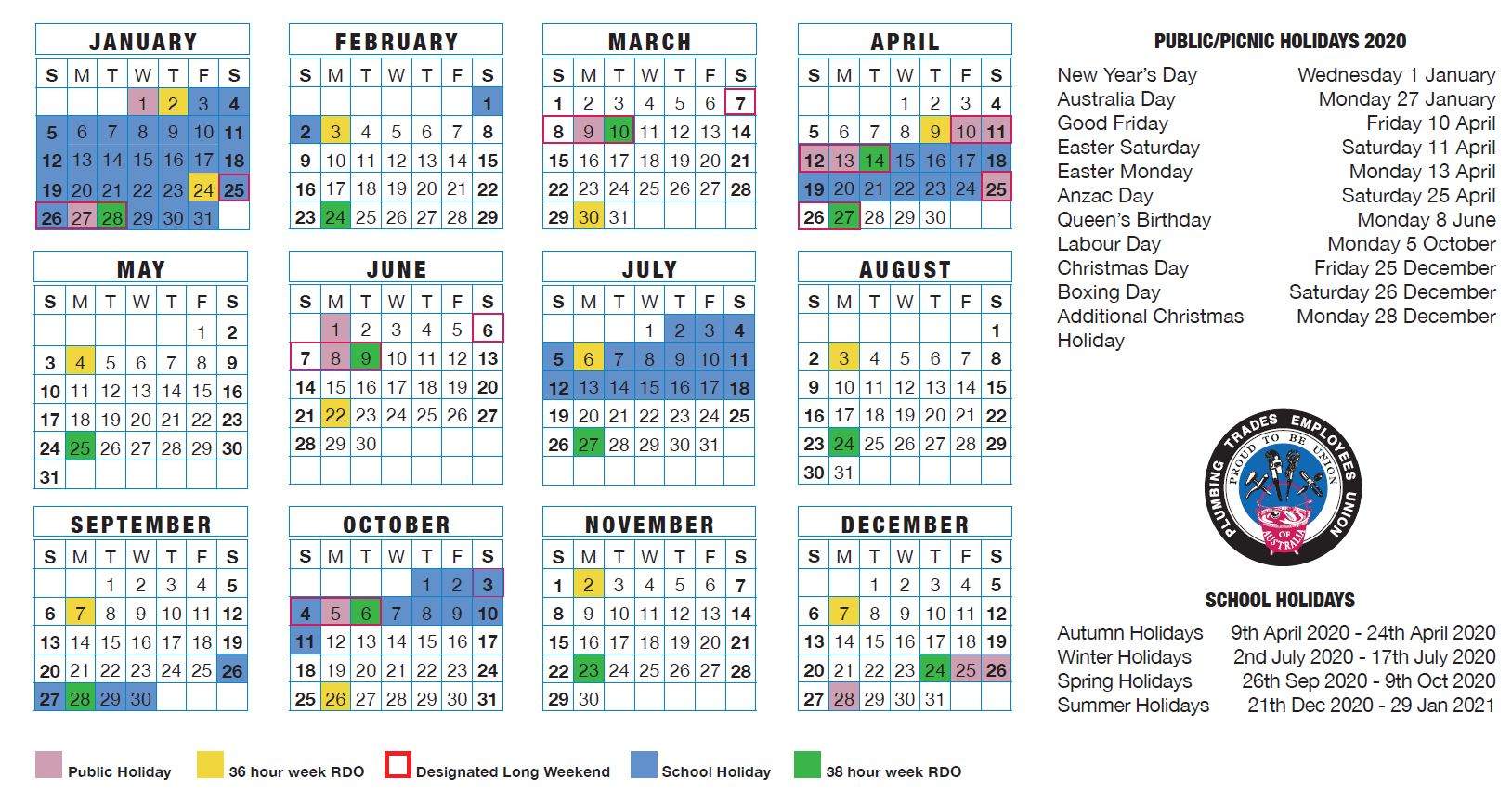 2022 Calendar Victoria Australia