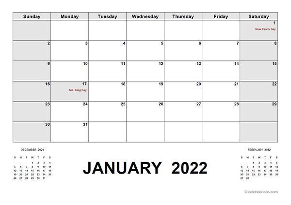 2022 Calendar With Holidays Editable