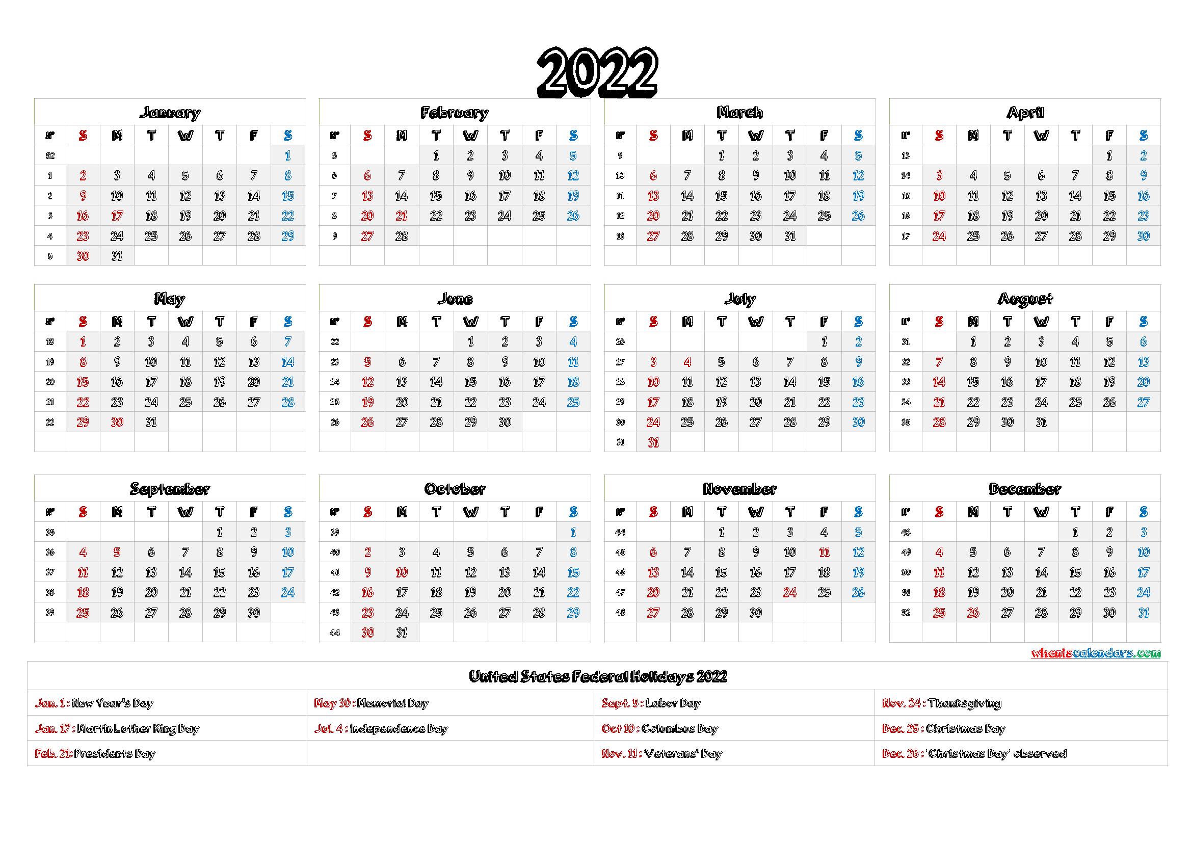 2022 Calendar With Holidays Printable - 9 Templates