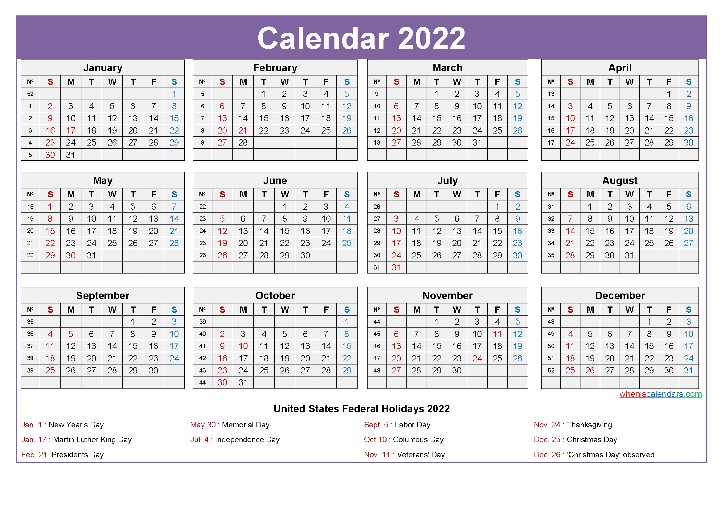 2022 Calendar With Holidays Template Word, Pdf - Free