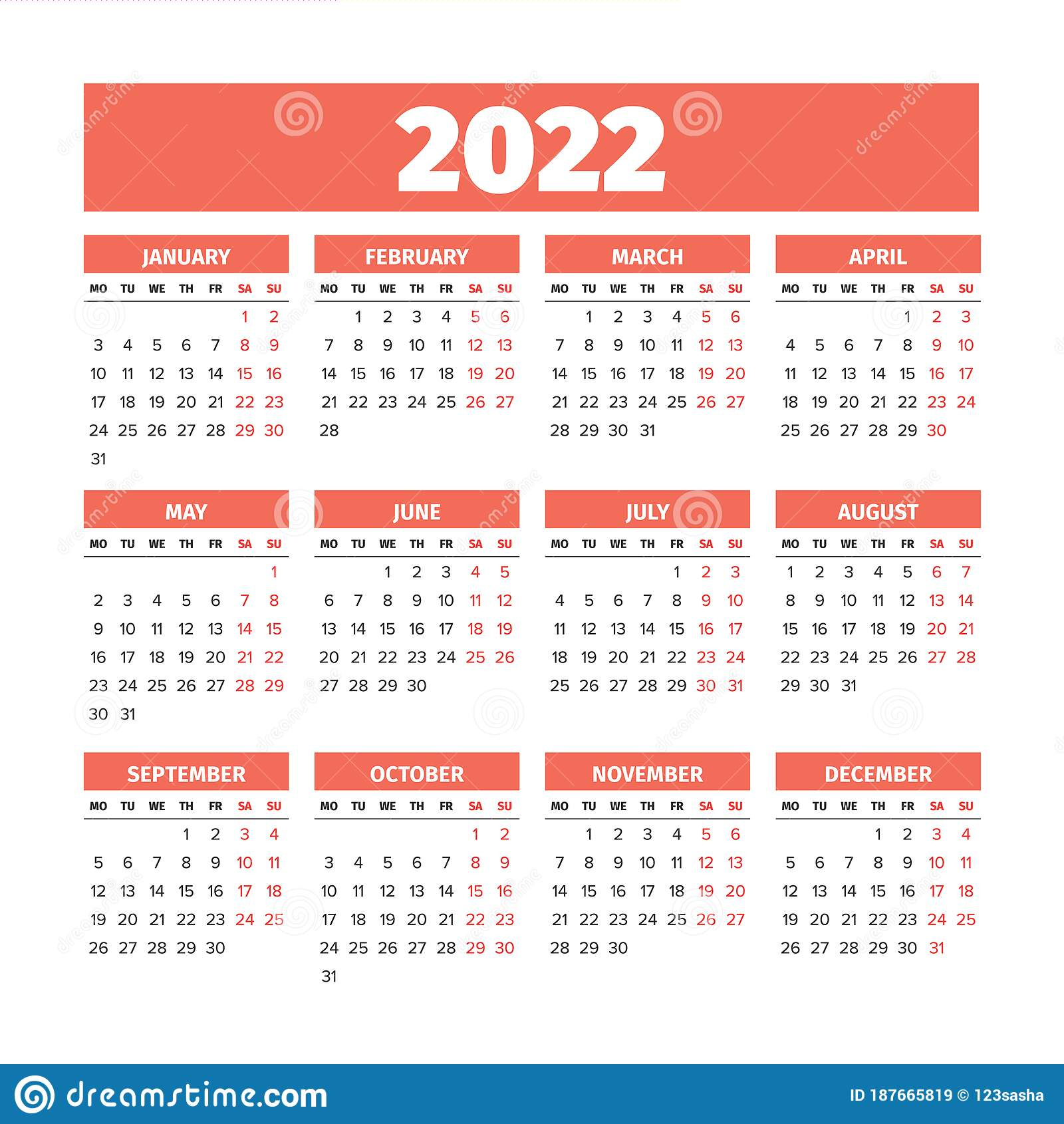 2022 Calendar With The Weeks Start On Monday Stock Vector