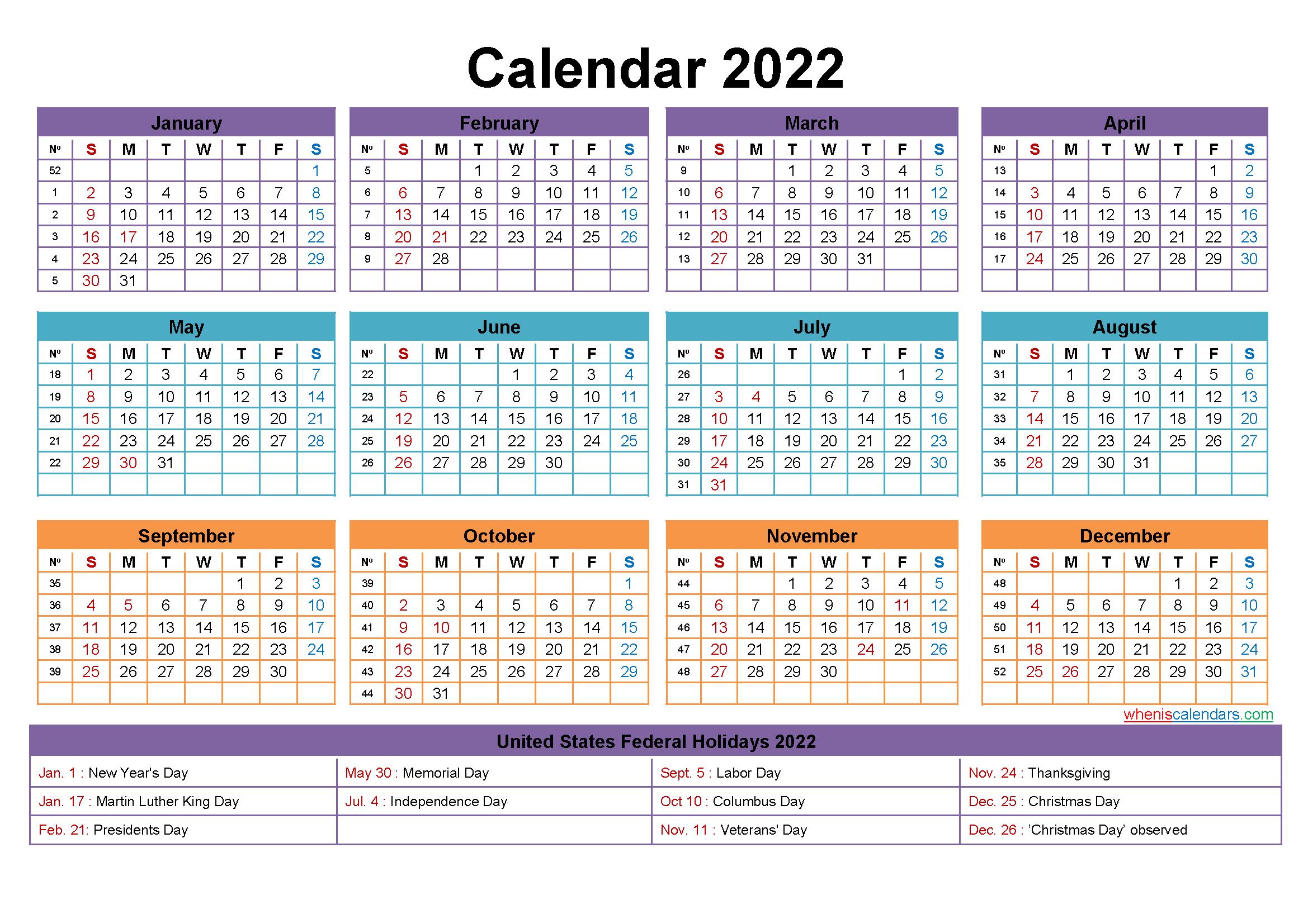 2022 Calendar Year Printable