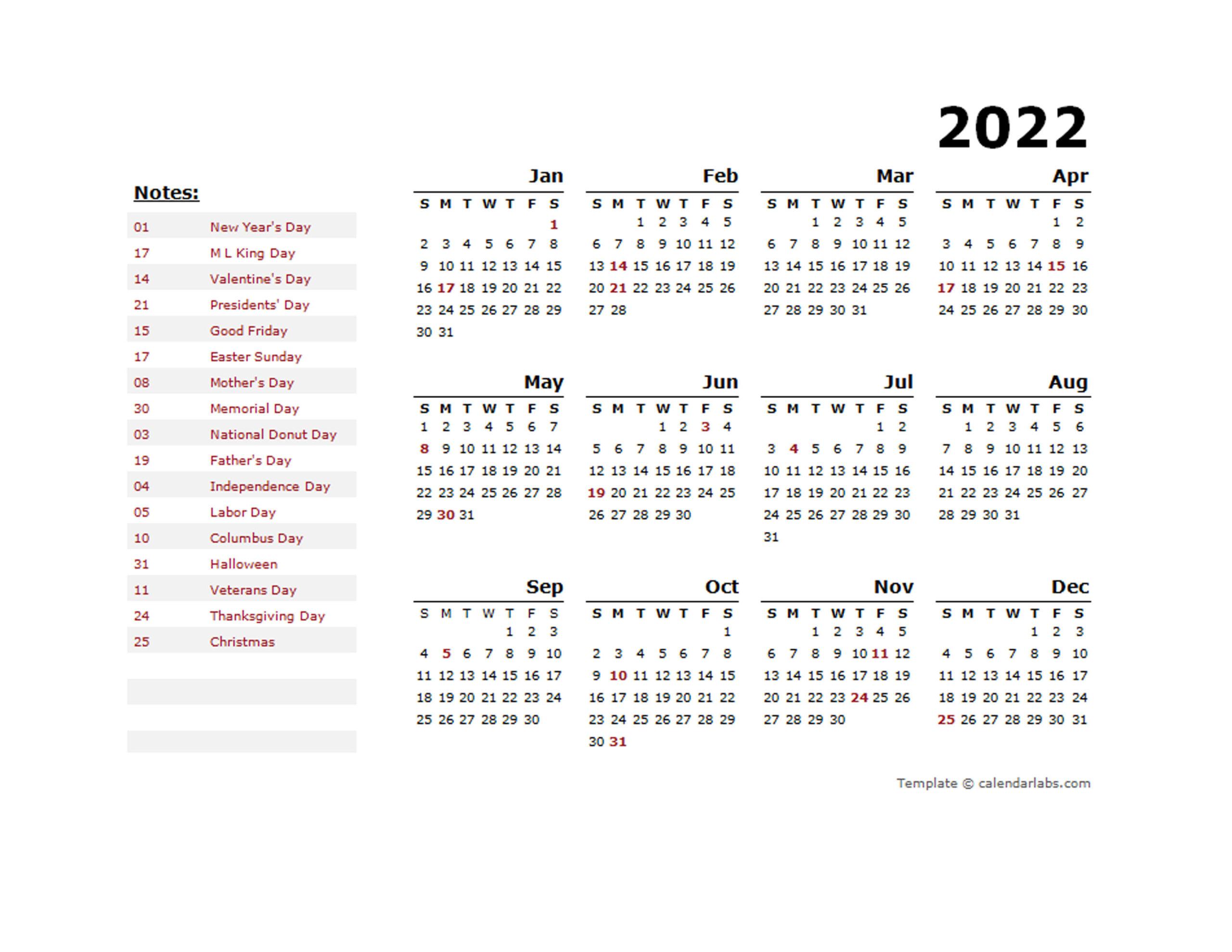 2022 Calendar Year View