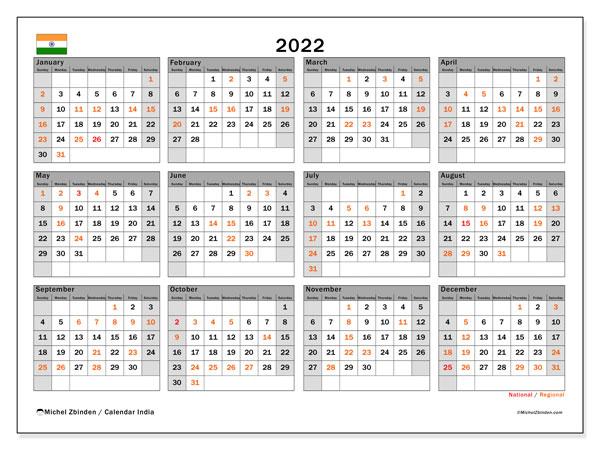 "2022 Calendars ""Public Holidays"" - Michel Zbinden En"