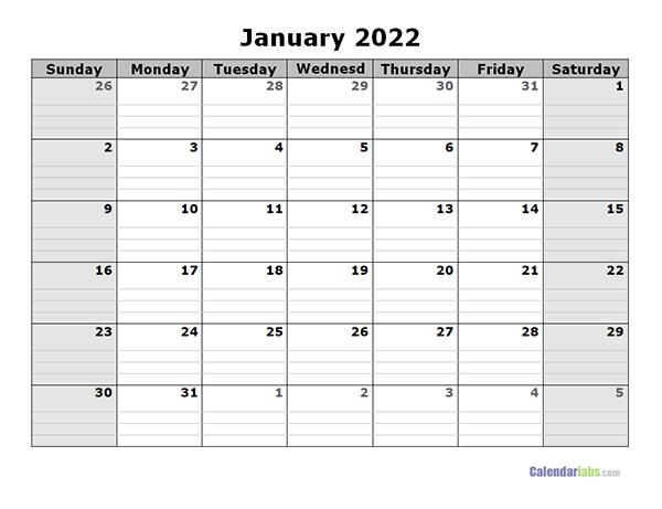 2022 Free Blank Calendar - Free Printable Templates