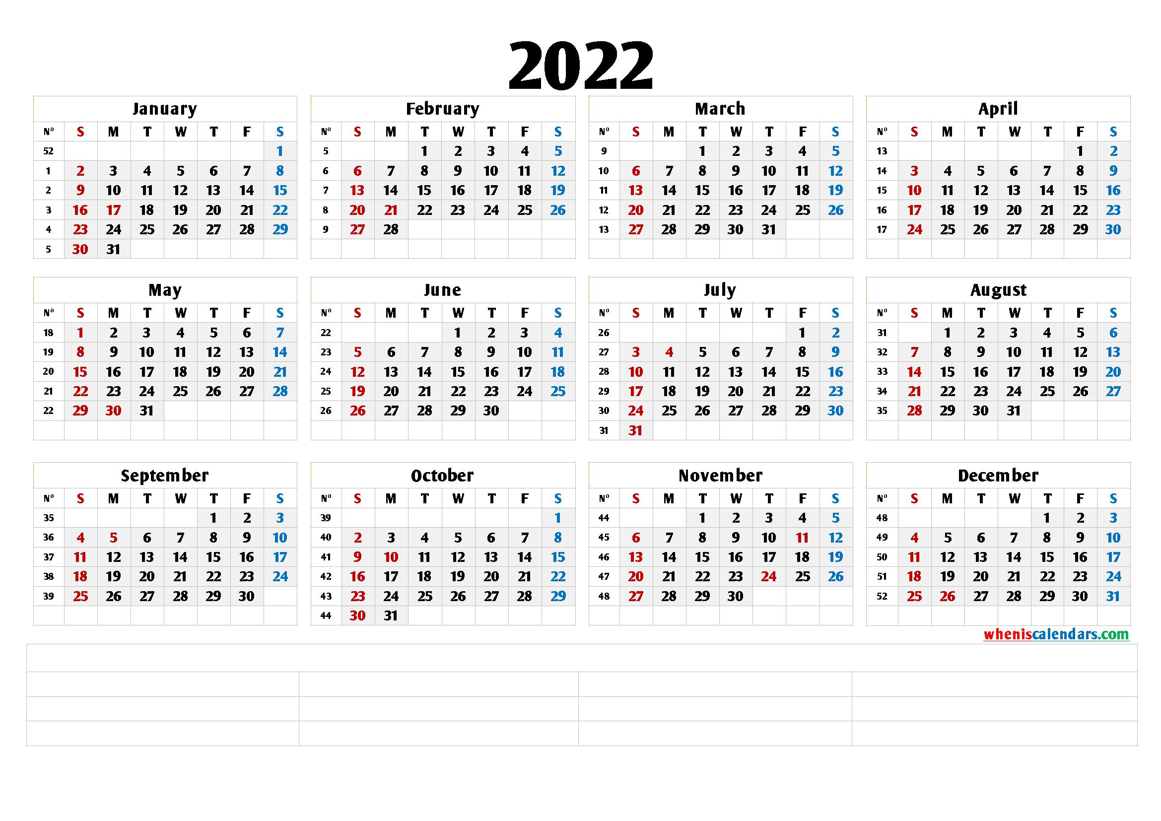 2022 Free Printable Yearly Calendar With Week Numbers (6