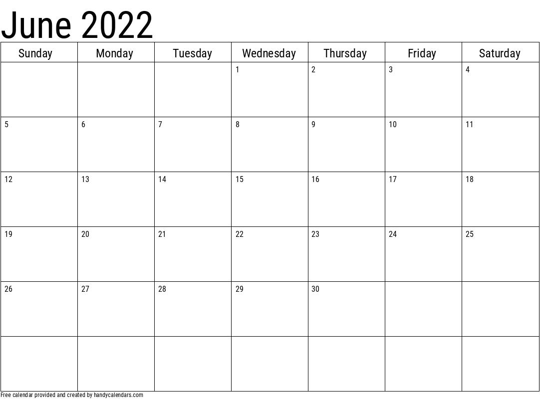 2022 June Calendars - Handy Calendars