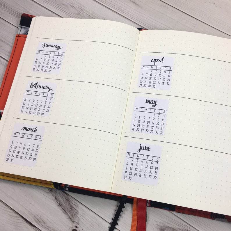 2022 Monthly Calendar Planner Stickers Bullet Journal