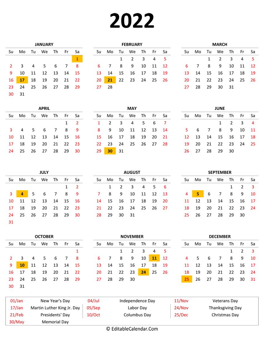 2022 Monthly Calendar Template Word