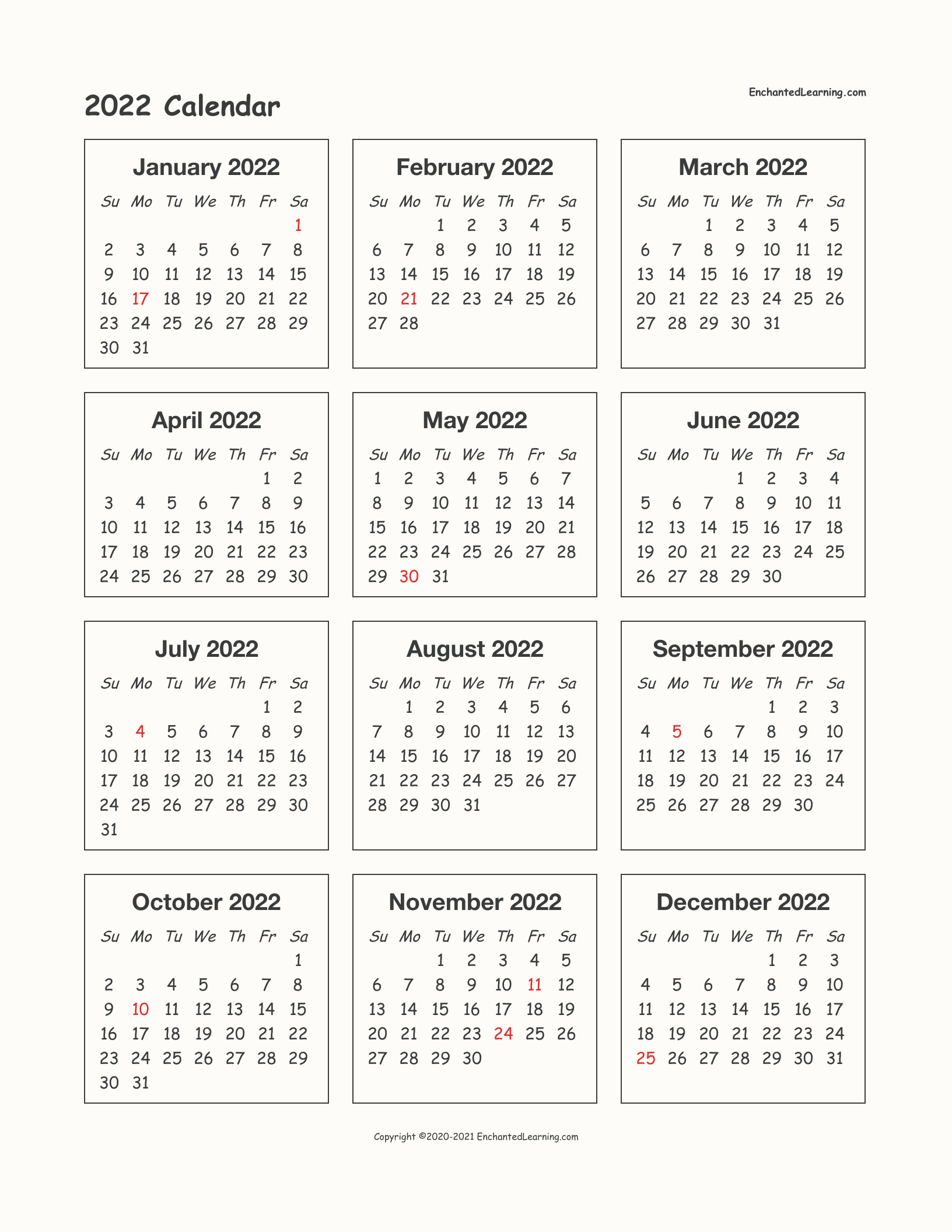 2022 One-Page Calendar - Enchanted Learning