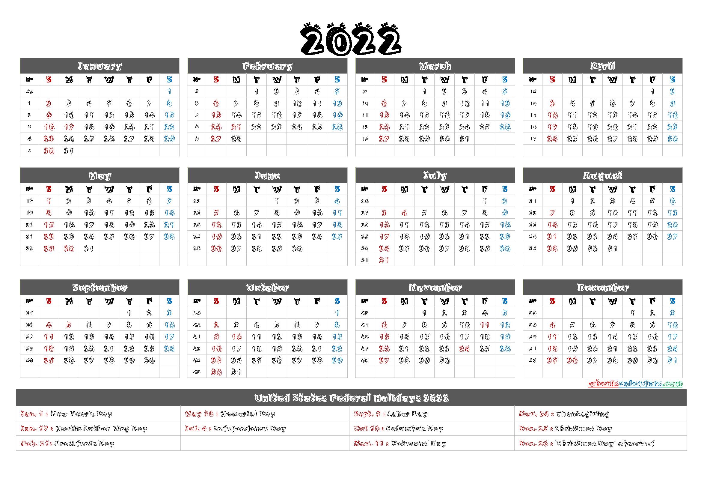 2022 One Page Calendar Printable - 9 Templates