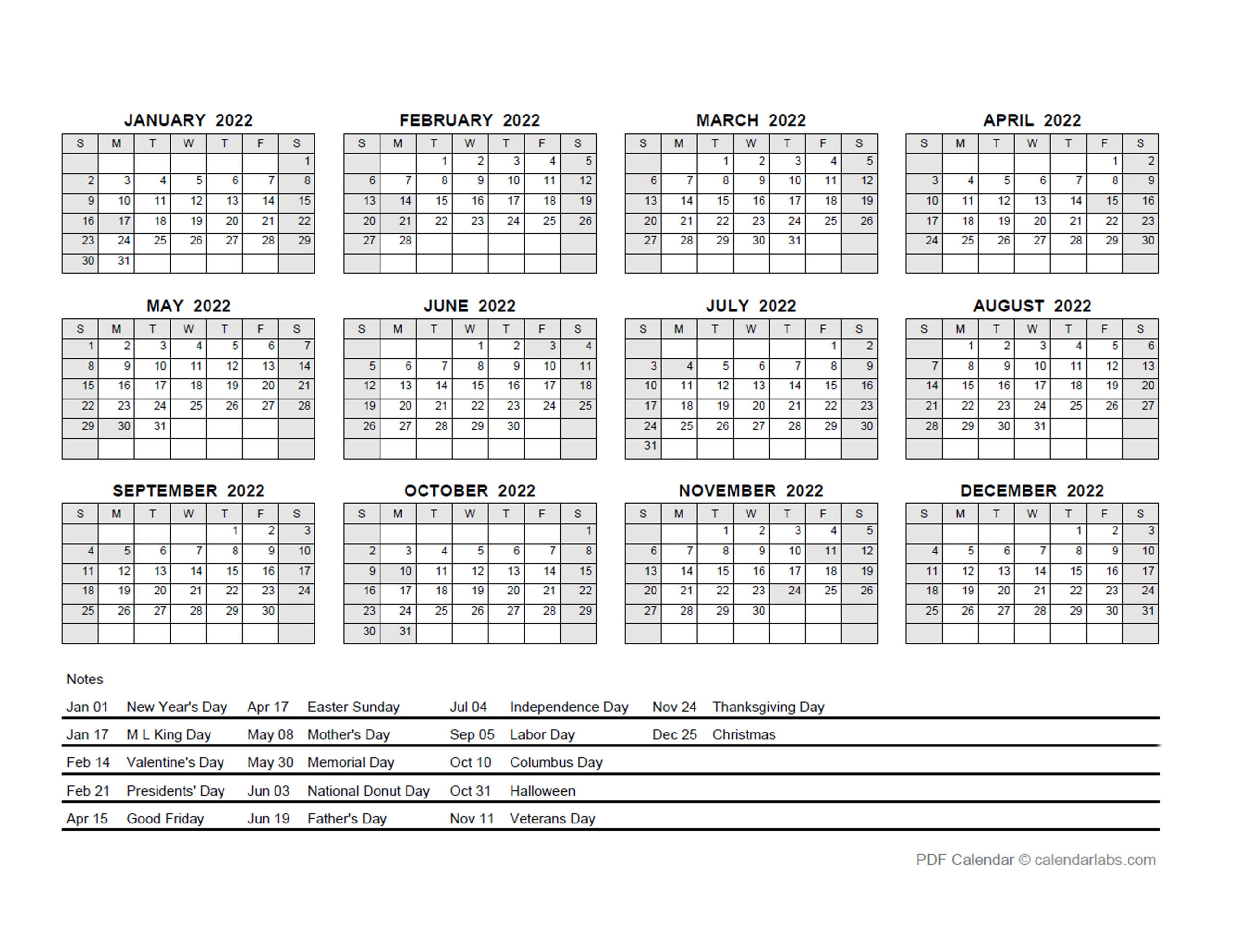 2022 Pdf Yearly Calendar With Holidays - Free Printable Templates